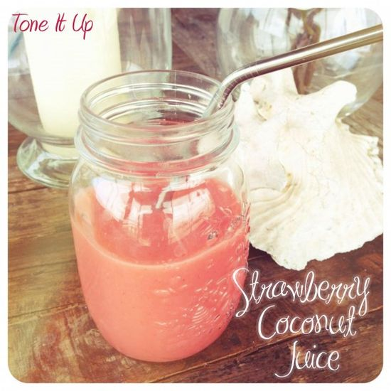 yumm, frozen strawberries and a whole coconut blended!