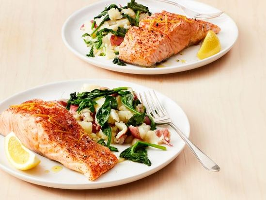 Instant Pot Salmon with Garlic Potatoes and Greens Recipe | Food Network Kitchen | Food Network