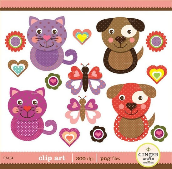 The cutest kitty and puppy digital clip art!