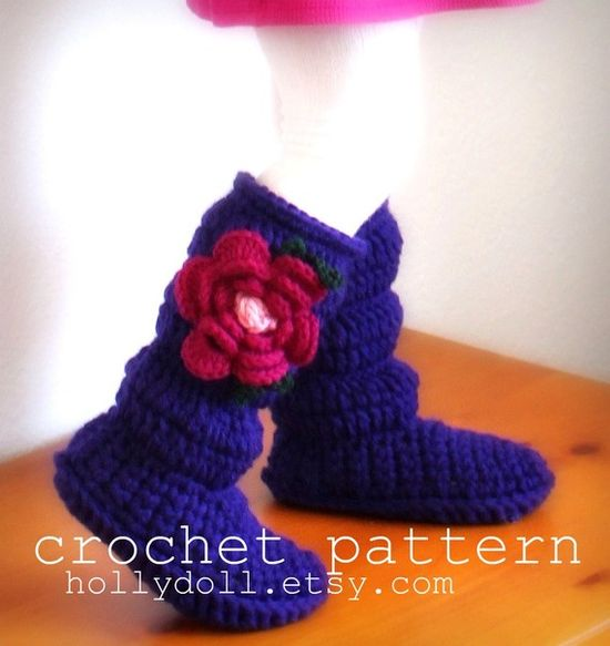 or these crochet pattern slipper boots