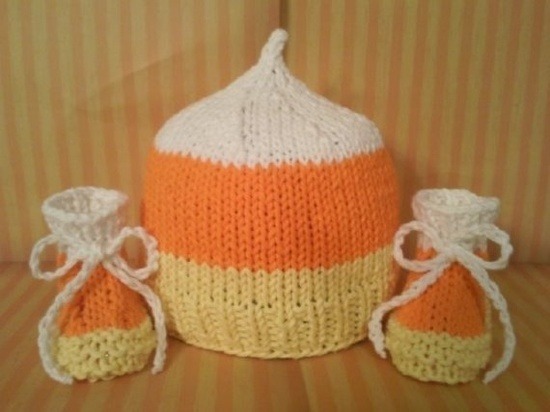 Candy Corn infant hat and booties