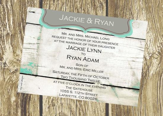 Classic Rustic Wedding Invitation Tiffany Blue by TinyToadDesigns