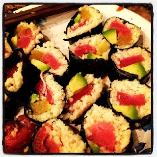 "Paleo sushi!  Made from ""sticky"" cauliflower rice!"