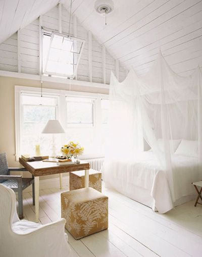 Lofty white bedroom