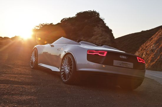 Sun Audi luxury sport cars silver cars Electric car german cars Audi E-Tron Spyder rear view  cars  / 4961x3307 Wallpaper