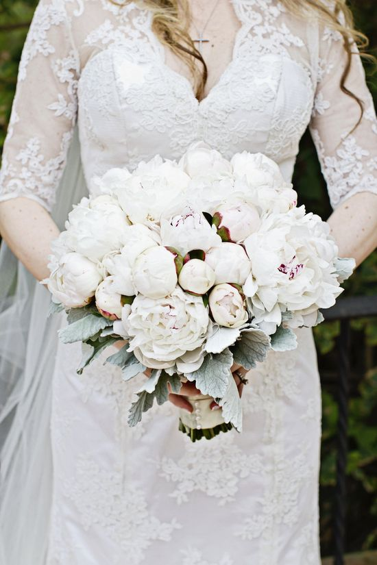 #Lace #sleeves and gorgeous blooms #wedding #bouquet #gown