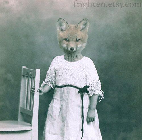 Fox Art Mixed Media Collage Print  Flora Altered par frighten, $25.00