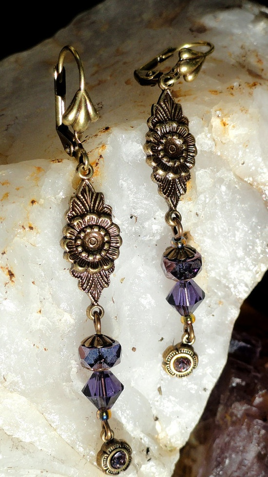 Earrings   Artisan Purple Crystal and Edwardian by KCRlehrstudio, $20.00