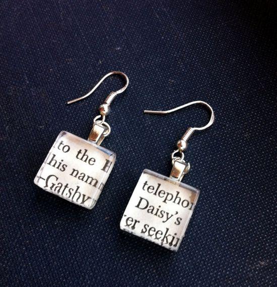 vintage book earrings