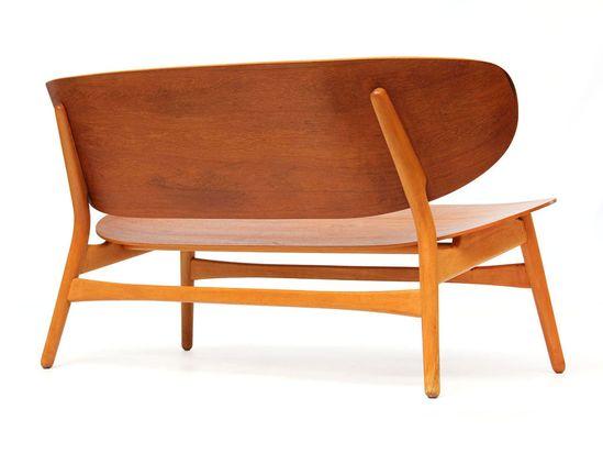 Plywood Shell settee by Hans Wegner