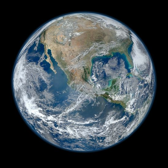 NASA recently published what it calls the most amazing, highest resolution image of Earth ever, dubbed Blue Marble. Click through to the original upload on Flickr... it's BIG, with a 8000x8000 image. The 1024x1024 image is still spectacular!