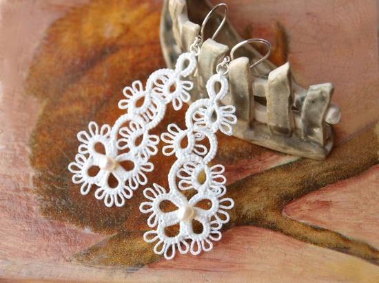 elegant #tatting #earrings #jewelry #tatted #tat