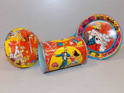 Vintage New Years Eve Noisemakers U.S Set of Four Tin Lithograph Metal Toy Company New Year Celebration Party Favors