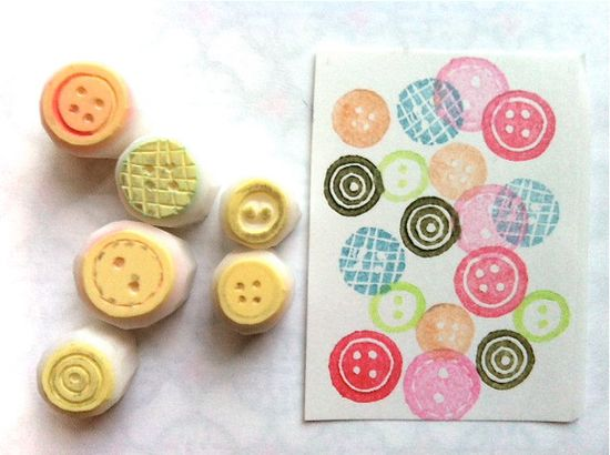 hand carve rubber stamp - buttons - handmade - 6pc - set - mini size - no1. $9.00, via Etsy.