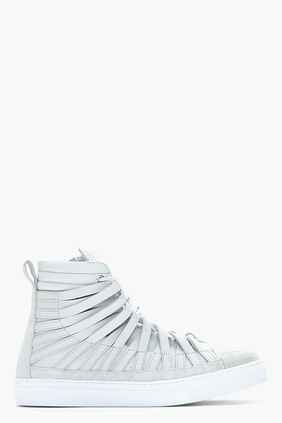 DAMIR DOMA Pale grey leather strap Falco high-top sneakers