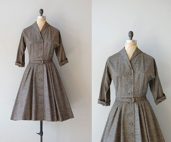 1950s Marled Tweed dress