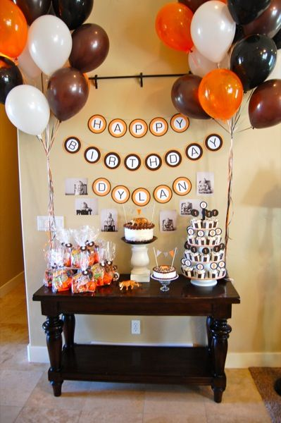 Like this set up for a birthday cake, treat, and cupcakes