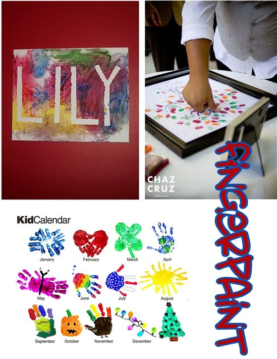 Fingerprints and finger painting with tape name, you could make mom for mother&#