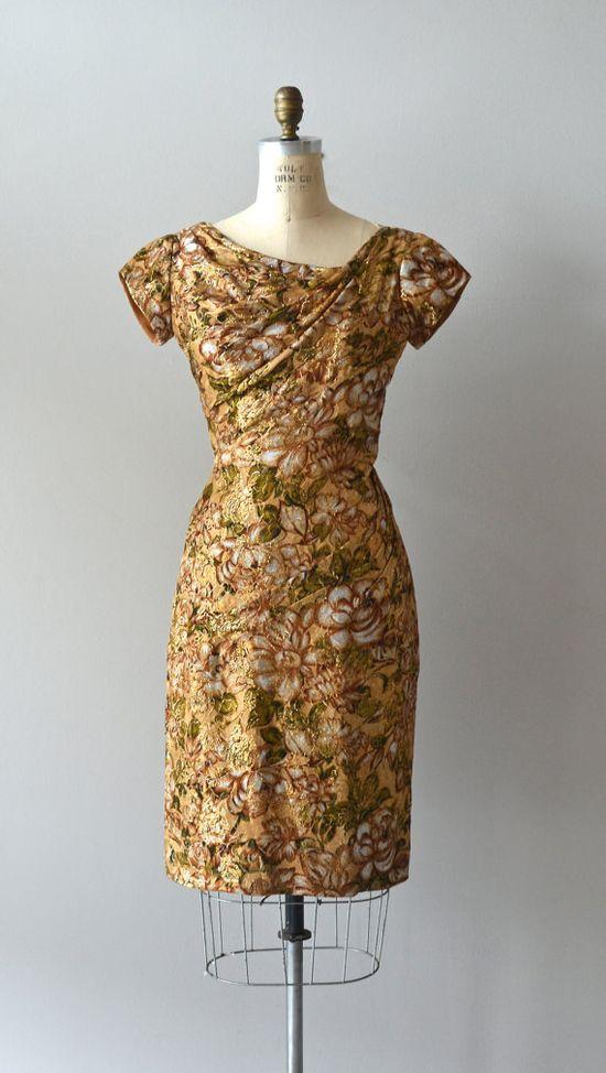 vintage 50s dress / metallic 1950s dress / Precious by DearGolden, $168.00