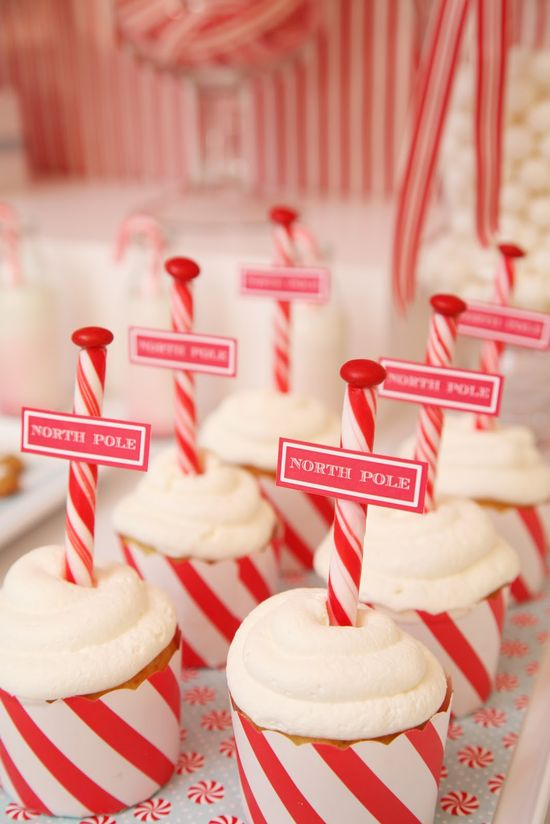 "dress up vanilla cupcakes with peppermint stick ""poles"""