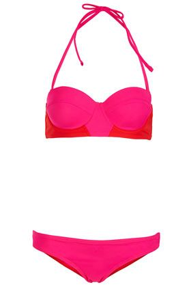 TOPSHOP Red Colourblock Bikini