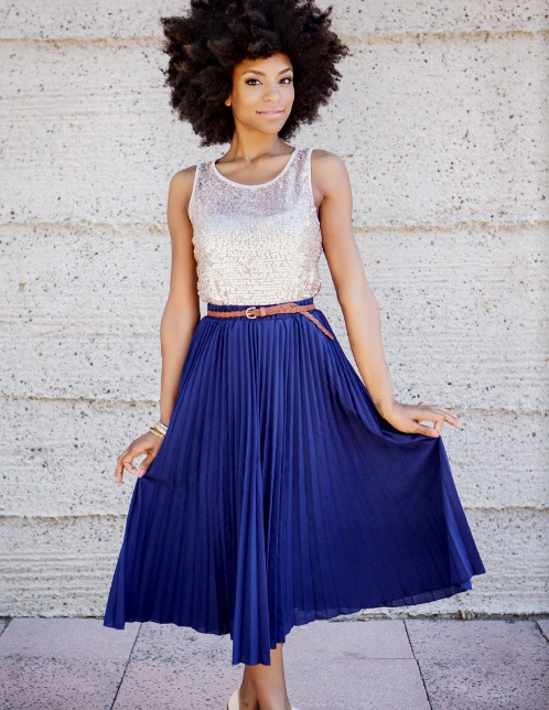 Sequins and cobalt blue knife pleated maxi skirt.