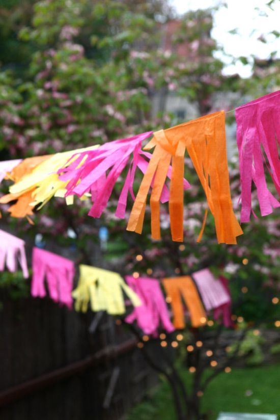 Cinco de Mayo pink orange yellow tissue paper party garland