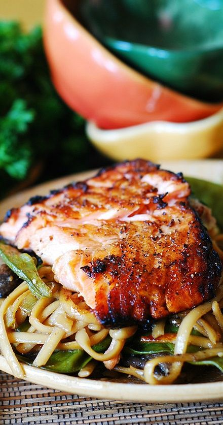 Asian salmon and noodles. Easy recipe for a busy weeknight. The salmon is very flavorful and very juicy! Lots of veggies with the noodles!