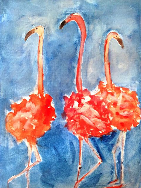 Watercolor painting blue and pink flamingo