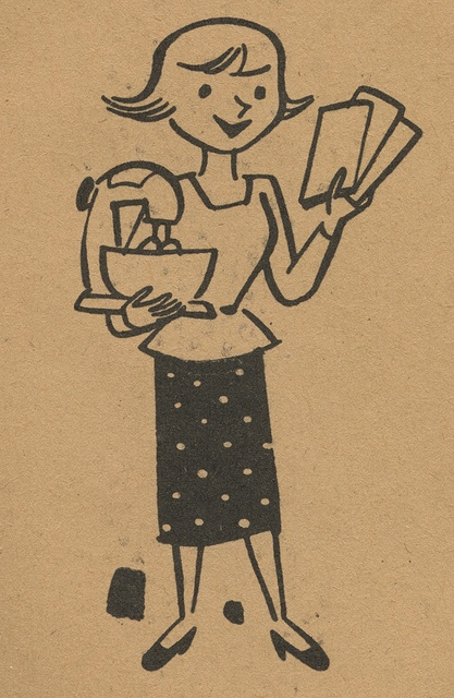 A charming 1950s illustration from a Stamp Saver book. #homemaker #kitchen #1950s #vintage