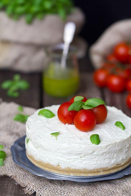 Savory Cheesecake with pesto and cherry tomatoes.