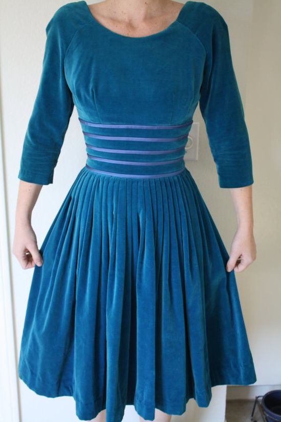 Teal Blue Velvet 1950's Party Dress by 1SweetDreamVintage on Etsy, $45.00