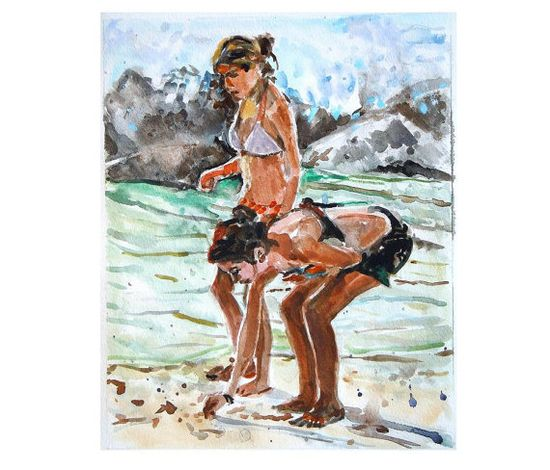 Original Watercolor PaintingTwo Beach Girls  aqua by GwenMeyerson, $350.00 #originalwatercolor