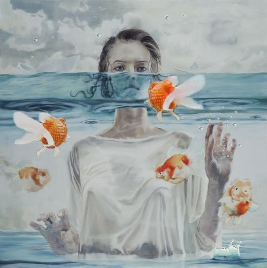 """Saatchi Online Artist: Zhongwen Yu; Oil, 2011, Painting """"which one is believable?the sew?read?or touched?"""""""