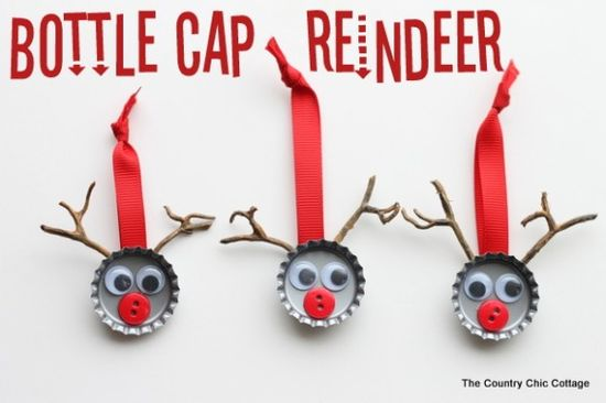 Make bottle cap reindeer (via dollarstorecrafts...)