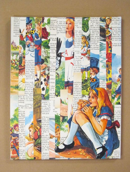 11 x 14 canvas collage made from vintage book pages from the story of Alice In Wonderland.