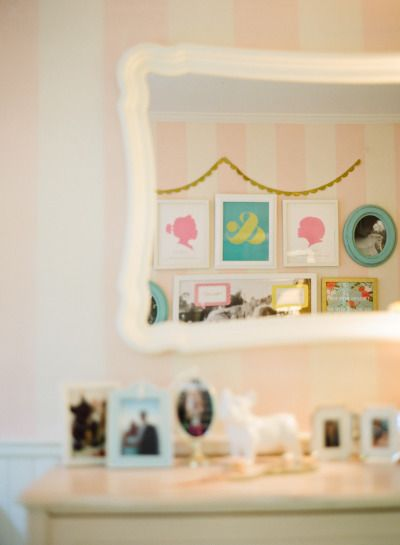 Vintage style girls bedroom. Love these silhouettes!