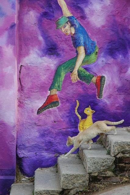 The Jump - Street art in Valparaiso, Chile