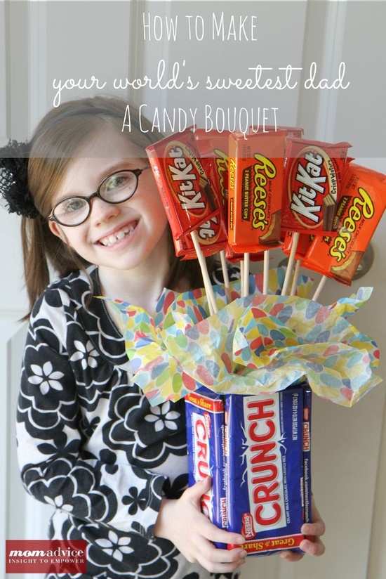 How to Make a Candy Bouquet Gift for Father's Day from MomAdvice.com.