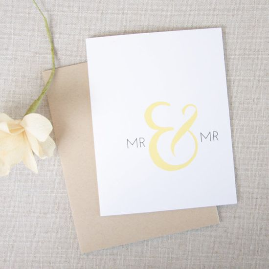Mr & Mr Wedding Congratulations Card Gay Wedding by acbcDesign, $5.00