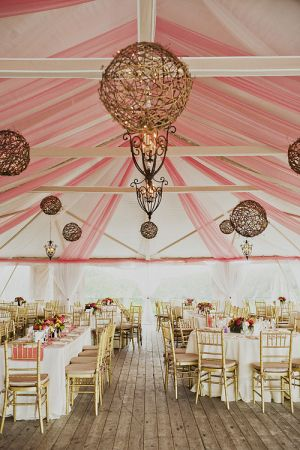 Pink and White Tent Reception Decor