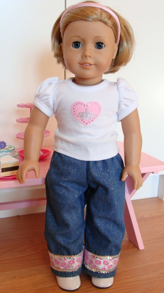 American Girl Doll 18 inch White Princess Crowns by SweetPeaKidz, $22.00, This set includes the Puffy Sleeve White Top with Pink crown & jewel applique. The Jeans are made with glitter denim fabric, the trim is pink, white & silver bling ribbon.  added the extra detail of the sequin to please the Fashionistas