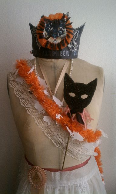 Halloween mannequin with black cat images