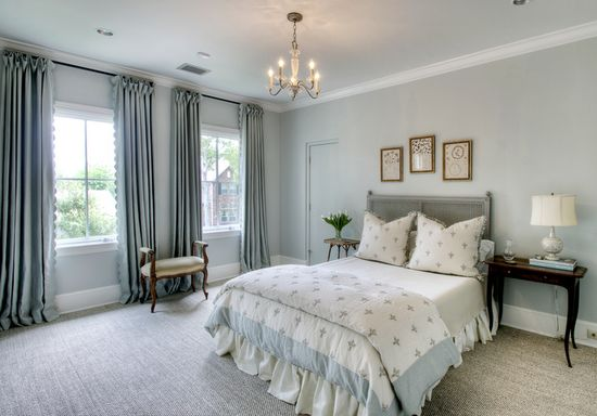 Lovely master bedroom. Bedding made with ChelseaTextiles fabric. Brooke McGuyer Interiors. -via Interior Canvas
