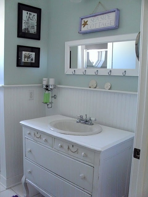 Guest bath with vanity made from old dresser.