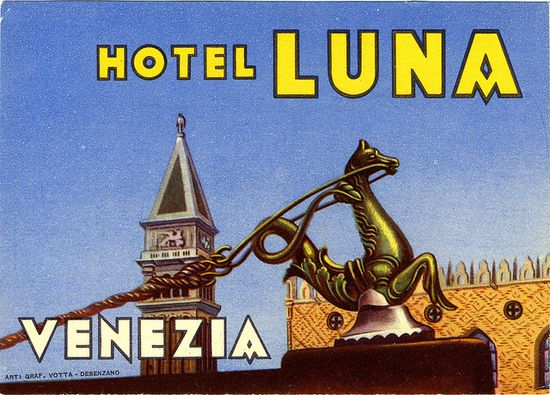 Hotel Luna, Venezia, Italy #vintage #travel #poster #Italia