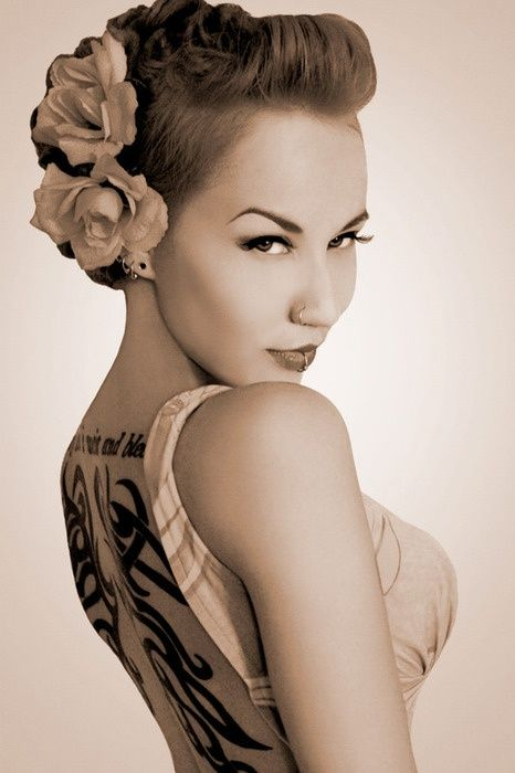 A faux hawk version of this sexy rockabilly wedding pompadour hair would be grea