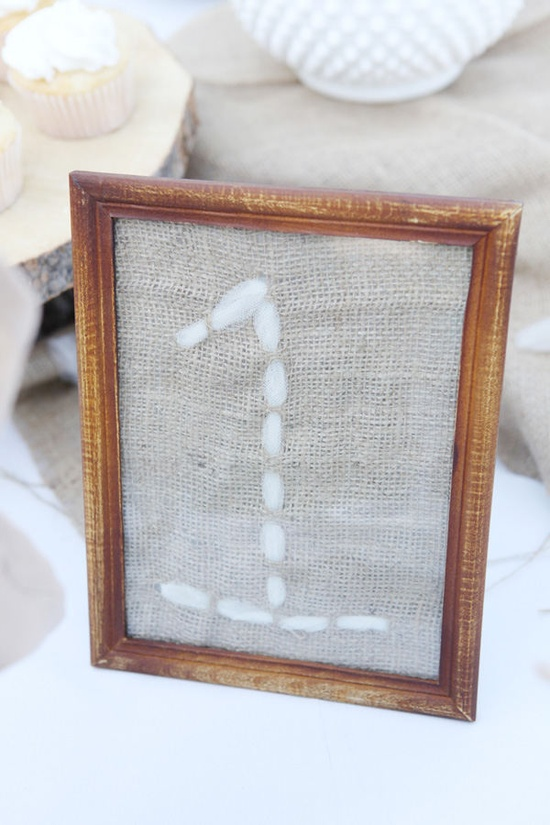 stitched table number.