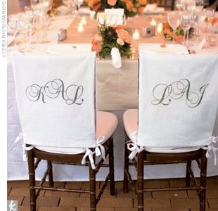 Monogram slipcovers for bride and groom...will have
