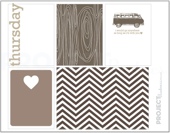 Neutral Love project life modern scrapbooking journaling cards, $2.00, via Etsy.
